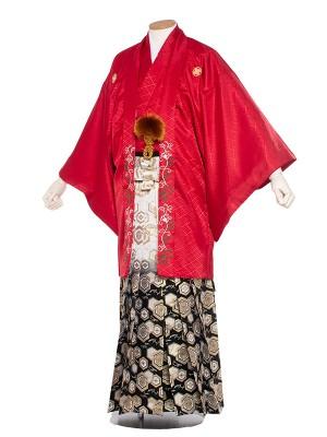 男性用袴 6号 赤紋付緑つる草刺繍/6R60