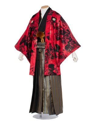 男性用袴 6号赤地黒薔薇/6X02