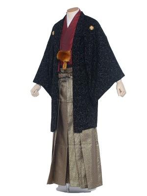 【オリジナル】男性用袴 紋服6号 黒ベロア・バラ柄/6B60