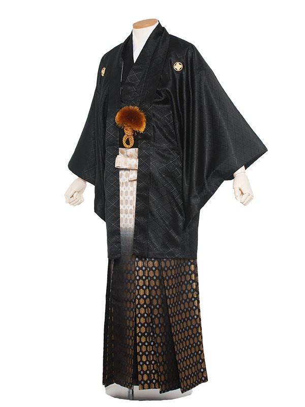 男性用袴 紋服6号黒紋付ほかし/6B50