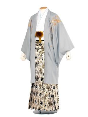男性用袴 紋服6号 グレー 龍と松/6X27
