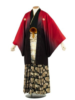 男性用袴 紋服6号 赤黒ぼかし/6R06