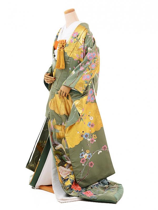 色打掛レンタルE185 グリーン地 桜 おしどり