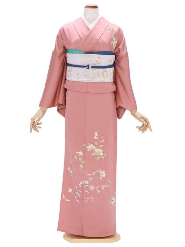 付下げ(単衣)80渋ピンク さざん花 野菊