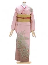 付下げ(単衣)37渋ピンク 笹にすずめ 裾茶たた