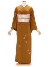 付下げ(単衣)91金茶色 刺繍