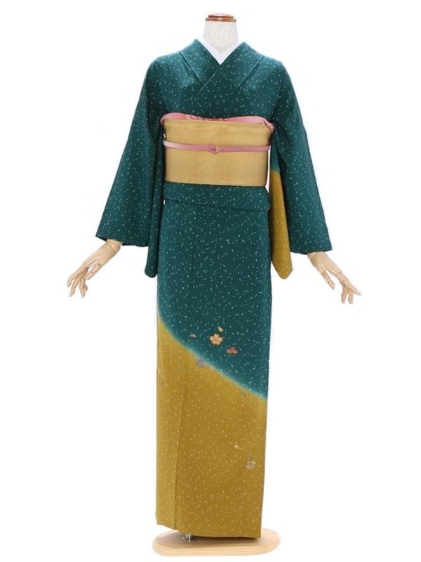 付下げ(単衣)88モスグリーン 裾からし色 桜柄