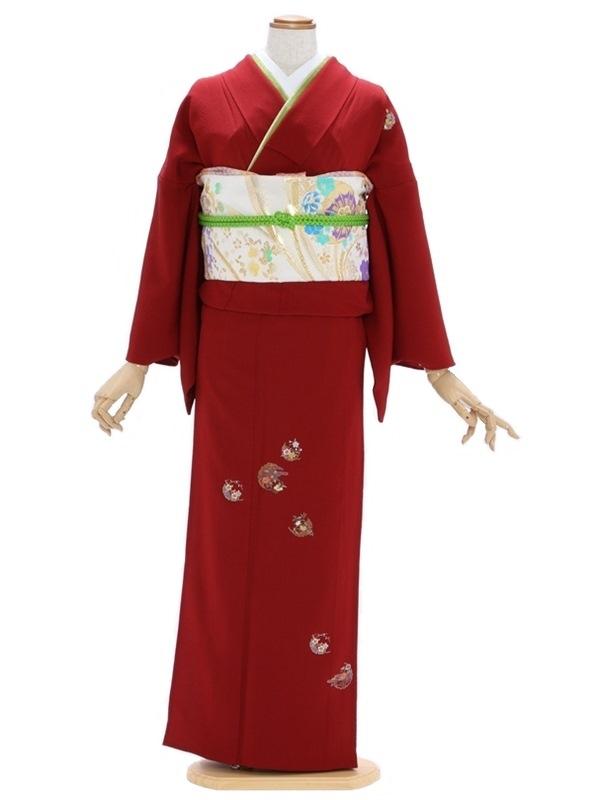 付下げ(単衣)62エンジ色 小花刺繍