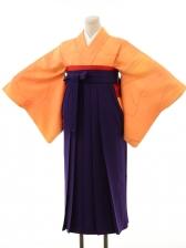 オレンジ梅模様×パープル袴