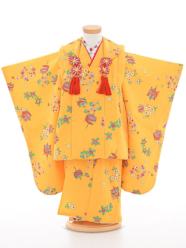 七五三(3歳女被布)被布sfth045黄色/こめ桜