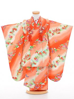 七五三(3歳女被布)被布sfth060オレンジ/花蝶な
