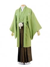男性用袴men0053 若草色紋服×黒ゴールド袴(L