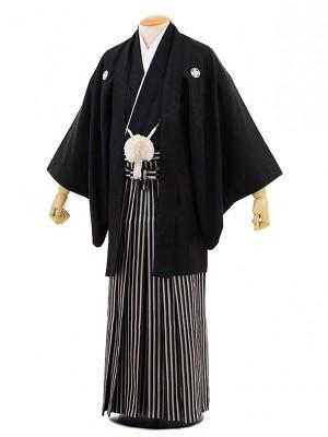 男性用袴men0065黒地 菱 紋付×黒ラメ袴(3L)