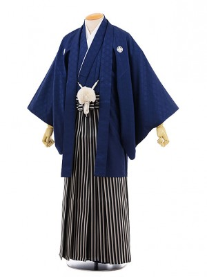 男性用袴men0066紺地 菱 紋付×紺ライン袴(3L)