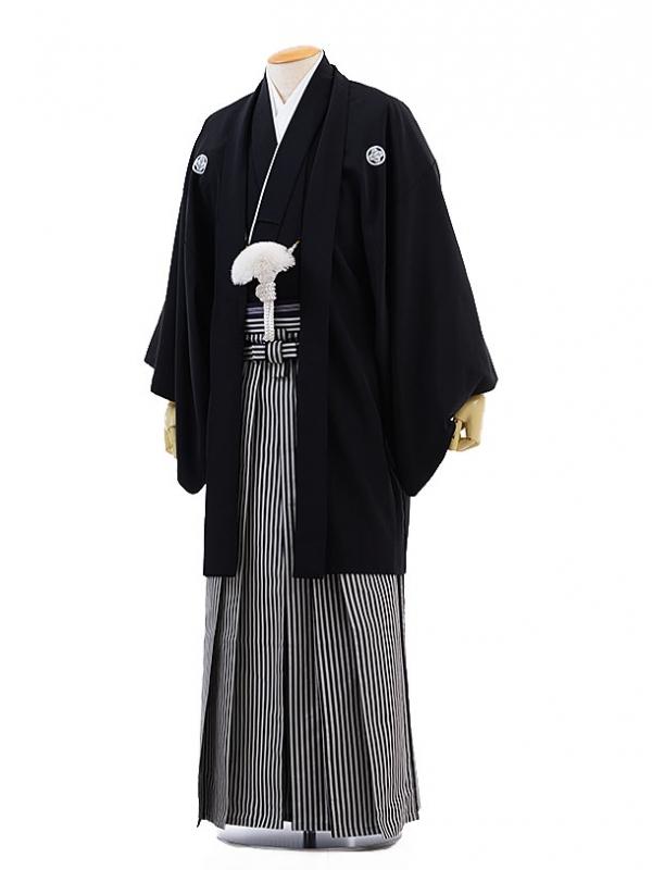 男性用袴レンタル men0006黒紋付×白黒縞(SS)/