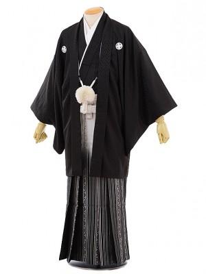 男性用袴men0063黒地 紗綾型 紋付×白黒 ぼかし袴(LL)
