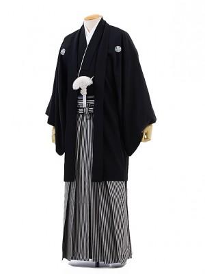 男性用袴レンタル men0006黒紋付×白黒縞(3L)/