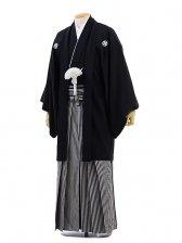 男性用袴レンタル men0006黒紋付×白黒縞(4L)/
