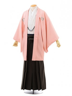 男性用袴men0129 ピンク地 桜 鯉×モスグリーン袴