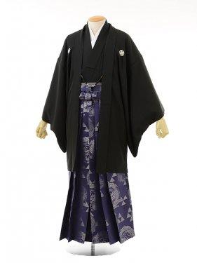 男性用袴men0026黒紋付×紫ラメ龍(LL)