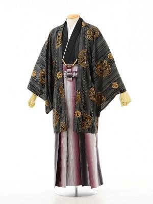 夏男性用袴men0009黒小紋黒×ワインぼかし(LL)