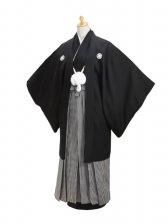 ジュニア黒紋付 正絹 縞袴 【小】