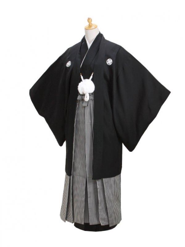 ジュニア黒紋付 正絹【へ】 縞袴 【小】