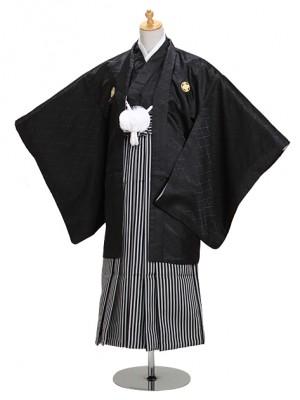 身長145~152cm 小学生黒紋付 縞袴 【小】8-12