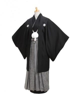 身長150~155cm 小学生黒紋付 縞袴 【大】