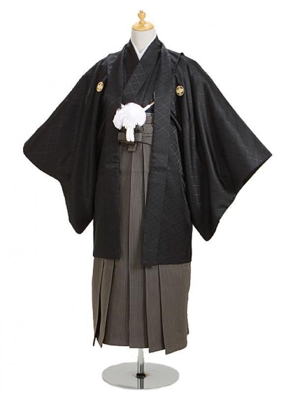 ジュニア黒紋付 高級正絹縞袴 【中】1-A,2-A