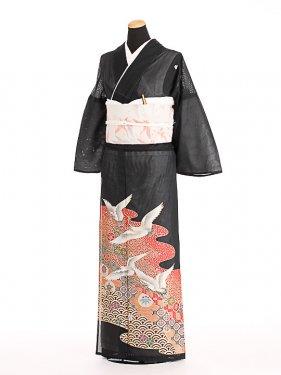 夏黒留袖tcrl004小紋箔に鶴