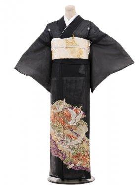 夏黒留袖tcr095桜扇に飛鶴