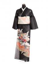 夏黒留袖tcr039鶴に絵扇