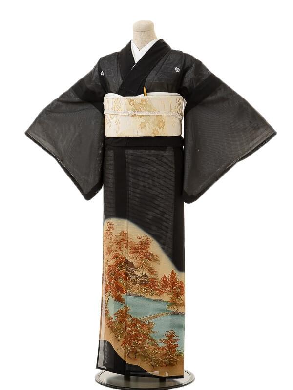 夏黒留袖tcr050秋の京景色