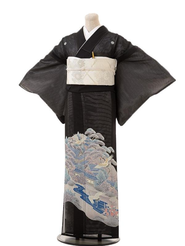 夏黒留袖tcr046流水に京景色