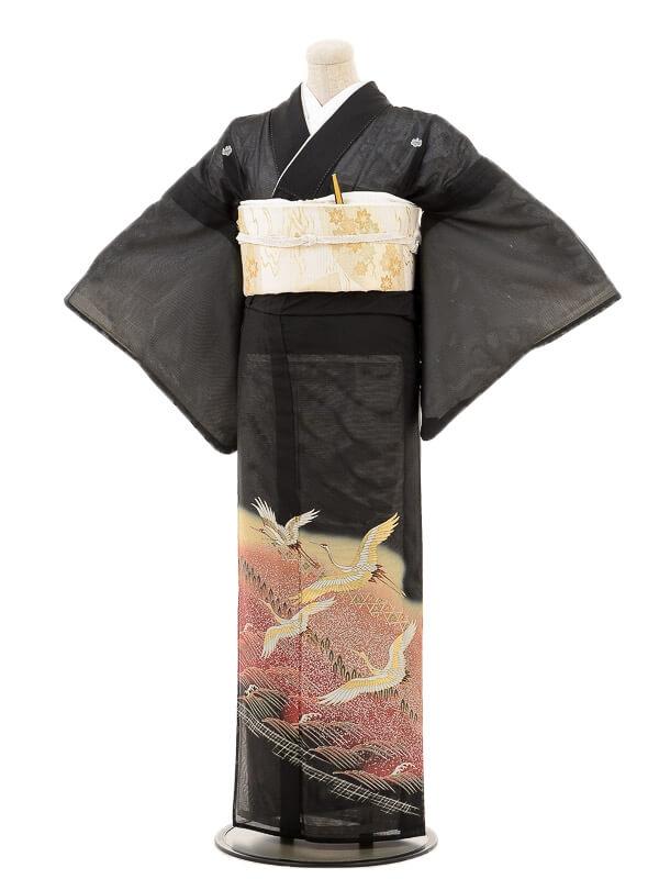 夏黒留袖tcr075優雅飛鶴