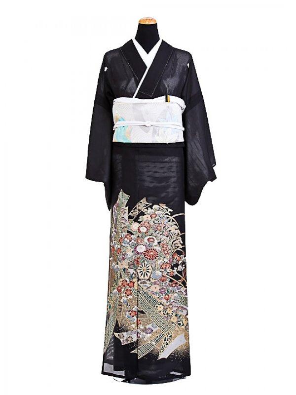 夏黒留袖tcr001熨斗に花車