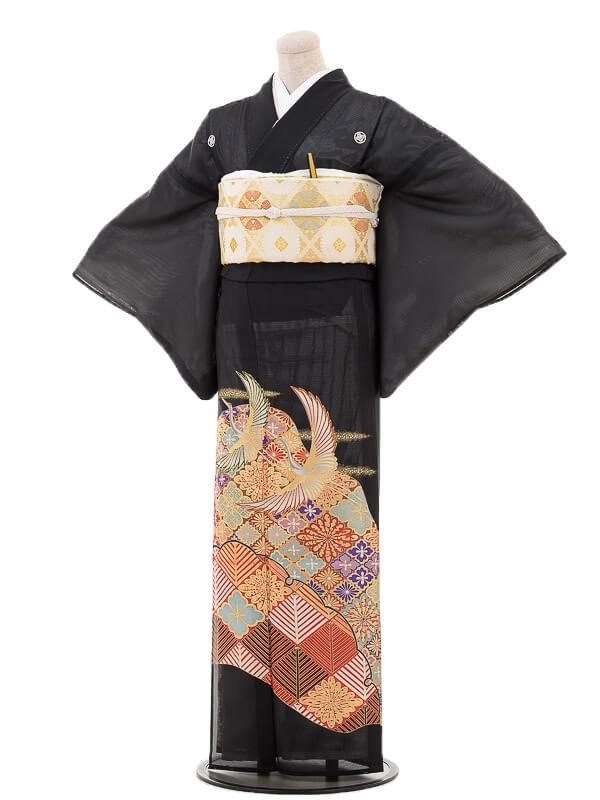 夏黒留袖tcr103花山景色