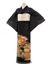 夏黒留袖tcr108菊に鶴扇