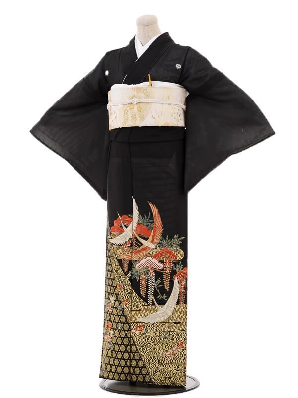 夏黒留袖tcr105松藤に鶴霞