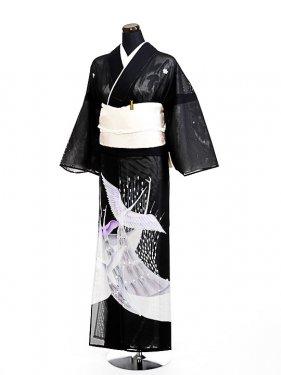 夏黒留袖tcr018洋鶴