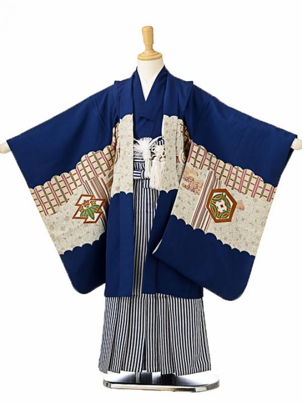 七五三(5歳男袴)sftm122紺地勝兜/紺仙台縦
