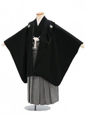 七五三(5歳男袴)sftm041黒無地/黒ヨロケ