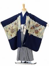 七五三(5歳男袴)sftm125紺兜/しぶ紺仙台縦
