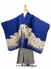 七五三(5歳男袴)sftm119青地タカ松/紺茶縦縞