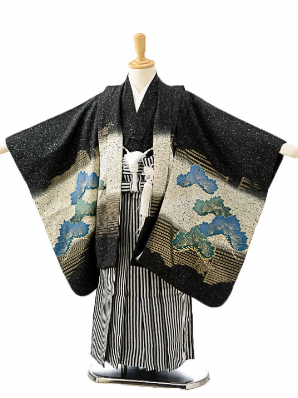七五三(7歳男袴)sftm218黒地鷹/黒仙台縦縞