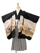 七五三(3歳男袴)sftm206黒地鷹巻物/黒縦縞