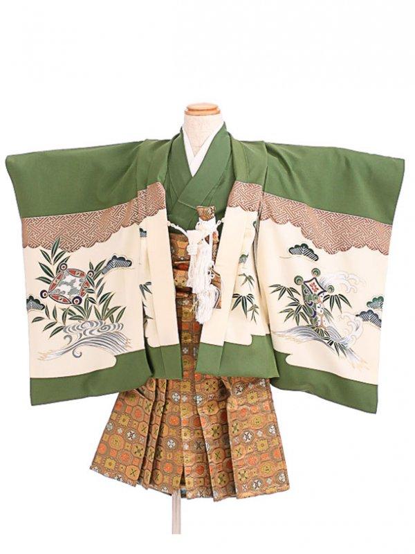 七五三(3歳男袴)sftm005緑地に鷹松/蜀江紋