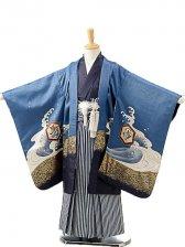 七五三(5歳男袴)sftm196青地に宝船/紺縦縞