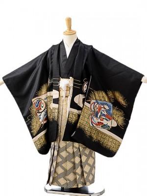 七五三(5歳男袴)sftm197黒富士兜/菱紋紺ボカ